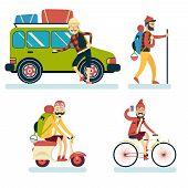stock photo of car symbol  - Happy Smiling Man Geek Hipster Character Car Traveler Backpack Schooter Bike Icon Travel Lifestyle Vacation Tourism and Journey Symbol Background Flat Design Template Vector Illustration - JPG