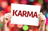 picture of karma  - Karma card with colorful background with defocused lights - JPG