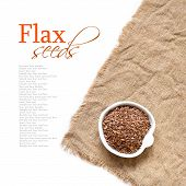 picture of flax seed  - Flax seeds in bowl on a white background - JPG