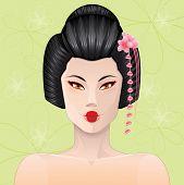 image of geisha  - Beautiful smiling geisha with sakura flower  - JPG