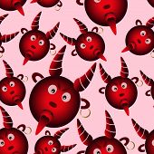 pic of deuce  - red evil cartoon devil from hell seamless pattern eps10 - JPG