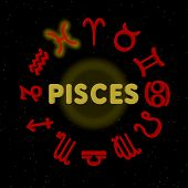 picture of pisces  - 3d zodiac signs with PISCES highlighted  - JPG