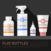 stock photo of trigger sprayer bottle  - Vector flat cosmetic bottles set - JPG