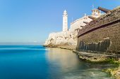 picture of el morro castle  - The fortress of El Morro in Havana with an old spanish cannons battery on the foreground - JPG