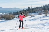 picture of ascending  - Cross country skier ascending a steep slope - JPG