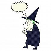 foto of ugly  - cartoon ugly old witch with speech bubble - JPG