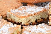 stock photo of baked raisin cookies  - Close up of homemade cookie with raisins DOF - JPG