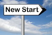 picture of fresh start  - new fresh start or chance back to the beginning and do it again road sign arrow  - JPG