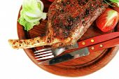 stock photo of stelles  - meat savory on wooden plate - JPG