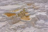 foto of mammoth  - Limestone Terraces at a Mammoth Hot Springs in Yellowstone National Park - JPG