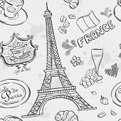 stock photo of moulin rouge  - Seamless texture with the image of the Eiffel Tower and other items depicting France - JPG