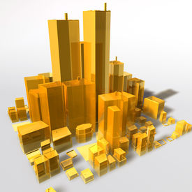picture of high-rise  - Abstract generic city with modern office buildings illustration - JPG