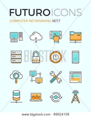 Computer Networking Futuro Line Icons