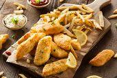 image of tartar  - Crispy Fish and Chips with Tartar Sauce - JPG
