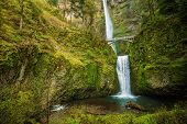stock photo of portland oregon  - Famous Oregon Multnomah Falls near Portland Oregon United States - JPG