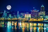 picture of portland oregon  - Portland Skyline with Moon and the Willamette River - JPG