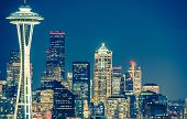 picture of architecture  - Seattle Architecture at Night - JPG
