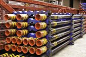 stock photo of big-rig  - Tubings or piping used for oil and gas well construction
