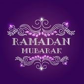 image of ramazan mubarak card  - Elegant grreting or invitation card with floral design decorated stylish text Ramadan Mubarak on shiny purple background - JPG