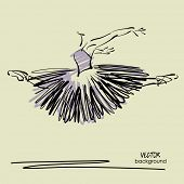 image of tutu  - art sketched beautiful young ballerina with long tutu in fly dance - JPG