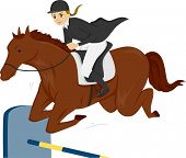 picture of horse girl  - Illustration of a Teen Girl on a Horse jumping over a Vertical Fence - JPG