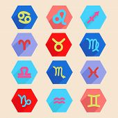 stock photo of pisces horoscope icon  - Colorful vector horoscope icon set in flat style zodiac signs made in hexagon shape - JPG