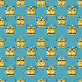 foto of cylinder  - Seamless vector pattern with flat color design yellow aqualung with two cylinders for scuba diving on blue background - JPG