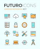 stock photo of computer  - Line icons with flat design elements of computer network technology cloud computing networking server database technical instruments - JPG