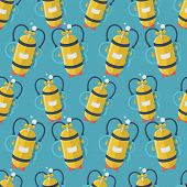 image of cylinder  - Seamless vector pattern with randomly flat color design yellow aqualung with one cylinder for diving on blue background - JPG