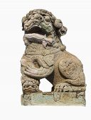 stock photo of rock carving  - Chinese lion carved out of rock isolated with white background from Wat Phra Kaew - JPG