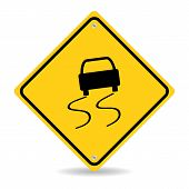 image of slippery-roads  - Vector slippery warning road sign - JPG
