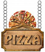 image of food chain  - Wooden sign with metal frame and text pizza slices of pizza on cutting board - JPG