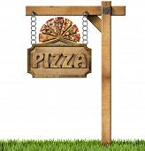 stock photo of food chain  - Sign with frame and text pizza slices of pizza on cutting board - JPG