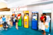 image of automatic teller machine  - Abstract Blurry people with automatic teller machine or ATM in shopping centre - JPG