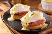 picture of benediction  - A delicious eggs Benedict with thick cut ham hollandaise sauce and thyme garnish.