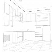 picture of interior sketch  - Abstract sketch design interior kitchen - JPG