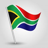 picture of south-pole  - vector waving simple triangle african flag on pole  - JPG