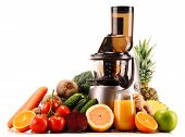 pic of juicer  - Slow juicer with organic fruits and vegetables isolated on white - JPG