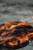 image of braai  - Fire for barbecue which uses only wood and charcoal - JPG