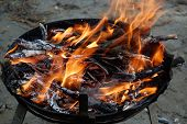 stock photo of braai  - Fire for barbecue which uses only wood and charcoal - JPG