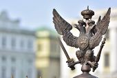 picture of winter palace  - Details of fence decorations with Russian Imperial Symbol of Double Headed Eagle at Palace Spuare St - JPG