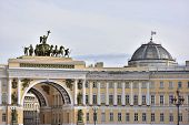 stock photo of winter palace  - View of gate to Palace Square St - JPG