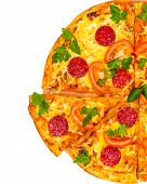 foto of hot fresh pizza  - hot fresh pizza with salami isolated on white background - JPG