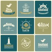 image of meals wheels  - set of emblem on the theme of seafood in retro style - JPG