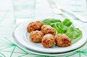 pic of meatball  - baked meatballs with pepper and spinach on a white background - JPG