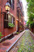 image of acorn  - Acorn street Beacon Hill cobblestone Boston in Massachusetts USA - JPG