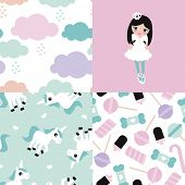 picture of unicorn  - Seamless adorable princess unicorn and lollipop candy illustration girls background set collection pattern in vector - JPG