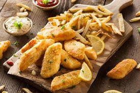 foto of tartar  - Crispy Fish and Chips with Tartar Sauce - JPG