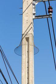stock photo of nylons  - Nylon mesh prevent snake to climb on electric pole - JPG