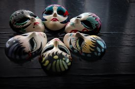 pic of venice carnival  - Carnival Masks On Vintage Background - JPG